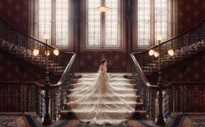 Картинка окна, платье, фонари, лестница, невеста, свадьба, свадебное платье