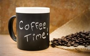 Картинка время, кофе, зерна, напиток