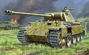 Картинка огонь, пламя, война, атака, рисунок, арт, танки, пехота, WW2, немецкие, PzKpfw V «Panther»