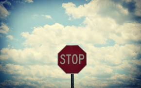 Картинка небо, облака, знак, стоп, stop