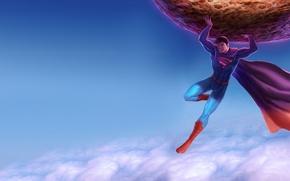 Картинка небо, облака, Супермен, метеорит, комикс, Superman
