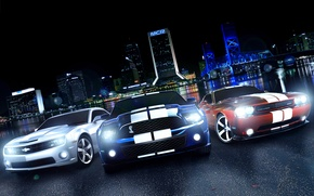 Картинка Dodge Challenger, ford mustang, muscle car, Chevrolet Camaro