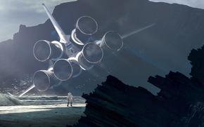 Картинка турбины, скафандр, космонавт, приземление, астронавт, space shuttle, пляж, берег, вода, космический челнок, скалы, крушение, костюм