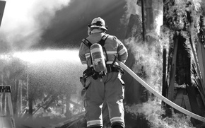 Обои firefighter, fire, fire protection