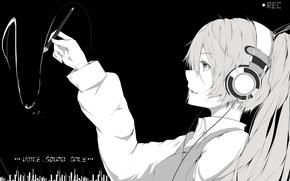 Обои hatsune miku, арт, marumoru, наушники, аниме, монохромное, девушка, vocaloid