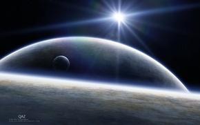 Картинка dark, light, science fiction, stars, planets