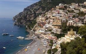 Картинка море, дома, Позитано, Италия, горы