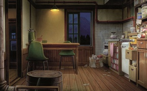 Картинка стол, стулья, вечер, окно, кухня, продукты, камната, лампа с абажуром, by Kusanagi
