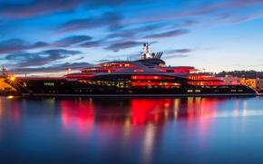 Картинка океан, вечер, яхта, пирс, сумерки, Seattle, Pier 90
