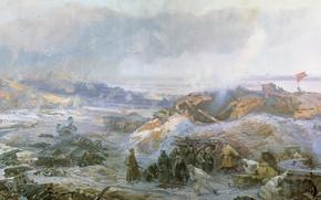 Картинка зима, дым, картина, солдаты, руины, Живопись, Великая Отечественная война, пехота, Сталинград