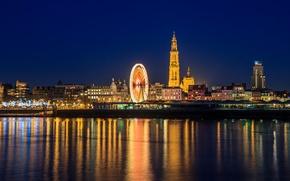 Картинка ночь, огни, отражение, зеркало, горизонт, колесо обозрения, Бельгия, Антверпен, река Шельда