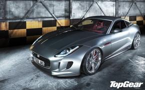 Картинка Concept, Jaguar, серебристый, ангар, ягуар, спорткар, top gear, передок, самая лучшая телепередача, высшая передача, топ …