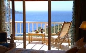 Картинка sea, wine, view, table, bathroom, balcony