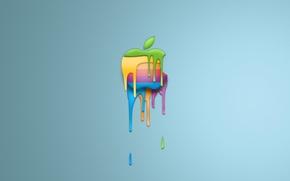 Обои минимализм, apple, логотип, краска