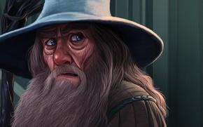 Картинка Рисунок, Взгляд, Лицо, Властелин колец, Шляпа, Борода, Art, The Lord of the Rings, Фильмы, Gandalf