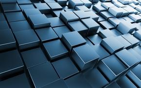 Обои кубы, metal, square, cubes, chrome, brick