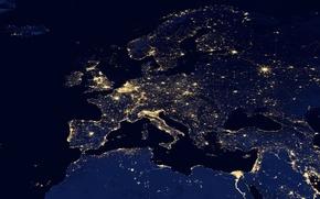 Картинка космос, свет, ночь, огни, карта, вечер, Европа, панорама, Азия, материки, Африка, обзор, снимок, континенты, часть ...
