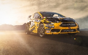 Картинка солнце, Ford, форд, блик, yellow, ралли, front, фиеста, Fiesta, rallycross, sponsored by WIX Filters, Matt …
