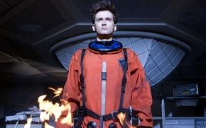 Картинка взгляд, огонь, пламя, космонавт, скафандр, актер, мужчина, сериал, Doctor Who, астронавт, Доктор Кто, David Tennant, …
