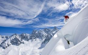 Картинка небо, облака, снег, горы, лыжник, горные лыжи