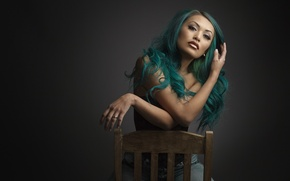 Картинка фон, волосы, цветные, портрет, стул