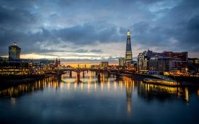 Картинка The Shard, небоскребы, отражение, Great Britain, London, Англия, Лондон, город, Темза, огни, вечер, вода, здания, ...