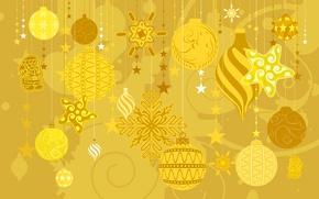 Обои вектор, Новый Год, открытка, зима, игрушки, украшения, текстура, Рождество