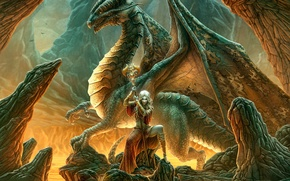 Картинка девушка, фентези, дракон, Kerem Beyit, эльфийка, жезл