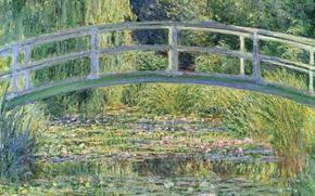 Обои деревья, пейзаж, пруд, лилии, картина, Клод Моне, Японский Мостик