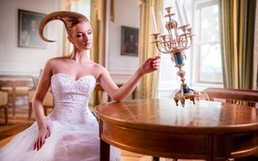 Картинка девушка, свечи, арт, причёска, Vita Vecera, Smart Object