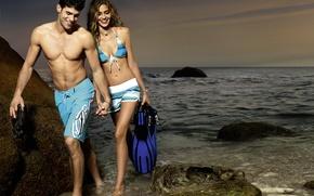 Обои грудь, вода, девушка, секси, камни, берег, модель, фигура, парень, ножки, Ana Beatriz Barros, sexy, красотка, ...