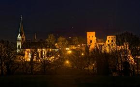 Картинка деревья, ночь, огни, дома, Германия, фонари, Kastellaun