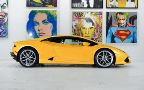 Картинка Lamborghini, Yellow, Side, Studio, Picture, Supercar, Huracan, LP610-4, Ligth