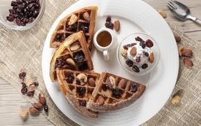 Картинка шоколад, орехи, десерт, вафли