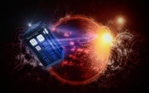 Картинка космос, звезды, пространство, планета, будка, Doctor Who, Доктор Кто, ТАРДИС, TARDIS