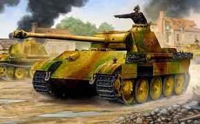 Картинка рисунок, арт, Пантера, MAN, PzKpfw V, Panzerkampfwagen V Panther, flames of war, немецкий средний танк …