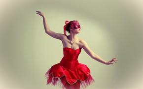 Картинка red, girl, dress, style, beauty, dance, dancer, hands, body, bullet, mask, shoulder, skirt, fingers, tanned, …
