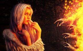 Картинка девушка, фантастика, огонь, крылья, ангел, руки, арт