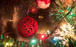 Картинка обои, игрушки, елка, новый год, шар, ель, шарик, гирлянда, шары. красный