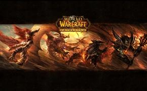 Картинка World of Warcraft Cataclysm, Нелтарион Хранитель земли, Смертокрыл Разрушитель, Алекстраза Хранительница Жизни, аспект красных драконов, …