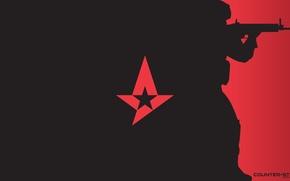 Картинка оружие, минимализм, logo, красный фон, спецназ, counter-strike, csgo, cs go, astralis