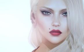 Картинка девушка, лицо, портрет, блондинка, родинка