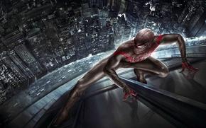 Картинка дорога, машины, город, отражение, костюм, The Amazing Spider-Man, Новый Человек-паук