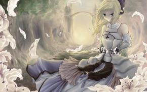 Картинка лес, девушка, деревья, цветы, лилии, лепестки, арка, бант, fate stay night, saber lily, fate zero