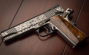 Картинка пистолет, оружие, фон, узоры, Custom, Kimber
