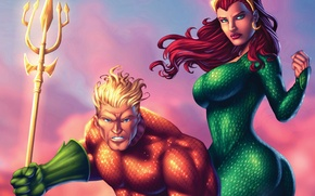 Картинка попа, грудь, девушка, фантастика, рыжая, задница, art, dc comics, Aquaman, mera, Queen of Atlantis