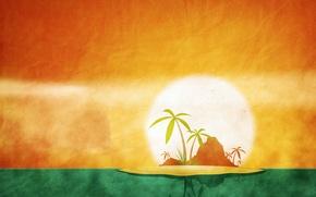 Обои июнь, календарь, остров, пальма, лето, солнце
