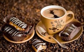 Картинка кофе, пирожное, кофейные зёрна, эклеры