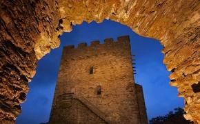 Картинка ночь, огни, башня, Уэльс, замок Долвидделан