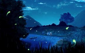 Обои Naruto Uzumaki, горы, Hatake Kakashi, природа, Наруто, команда, деревья, Sakura Haruno, аниме, озеро, ночь, звезды, ...